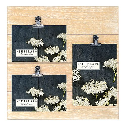 New View Rustic Shiplap 3 Opening Photo Clip Collage Frame