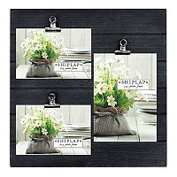 New View Shiplap 3-Opening Photo Clip Collage Frame