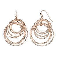 Textured Nickel Free Multi Hoop Drop Earrings