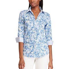 914ed7f4 Women's Chaps 3/4 Sleeve Woven Shirt. Blue Floral Stripe ...