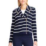 Women's Chaps Asymmetrical Striped Sweater Jacket
