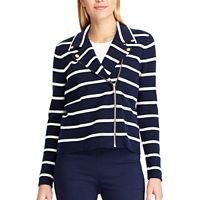 Women's Chaps Asymmetrical Striped Sweater Jacket
