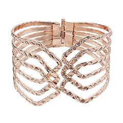 Hammered Openwork Hinged Bangle Bracelet