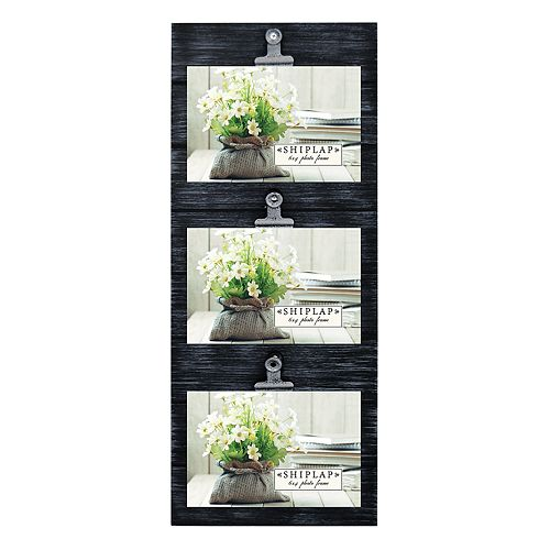 New View Black Shiplap 3-Opening Photo Clip Collage Frame
