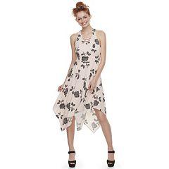 Juniors' Candie's® Lace-Up Handkerchief Maxi Dress