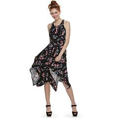 Juniors' Candie's® Lace-Up Handkerchief Maxi Dress