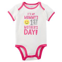 Baby Girl Carter's 'It's My Mommy's 1st Mother's Day' Glittery Graphic Bodysuit