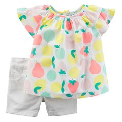 Baby Girl Carter's Fruit Top & Jean Shorts Set