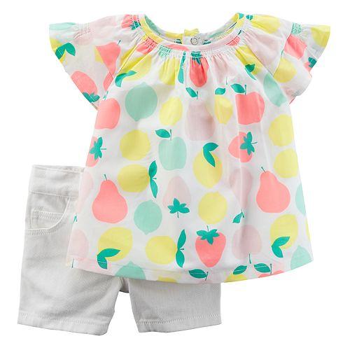08b8346dd526 Baby Girl Carter s Fruit Top   Jean Shorts Set
