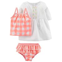 Baby Girl Carter's Checkered Swimsuit & Cover-Up Set