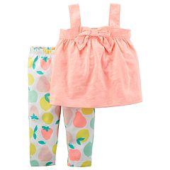 Baby Girl Carter's Bow Tank Top  & Fruit Leggings Set