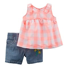 Baby Girl Carter's Checkered Tank Top & Chambray Shorts Set