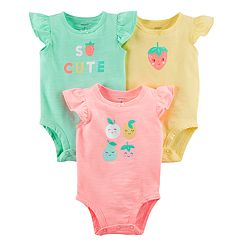 Baby Girl Carter's 3-pack Graphic Slubbed Bodysuits