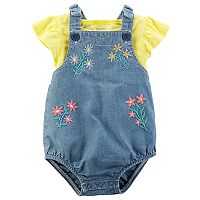 Baby Girl Carter's Slubbed Top & Overall Romper Set