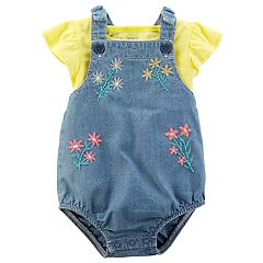 Baby Girl Carter's Slubbed Top & Overall Romper Set
