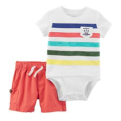 Baby Boy Carter's 'Official Bug Catcher' Striped Bodysuit & Canvas Shorts Set