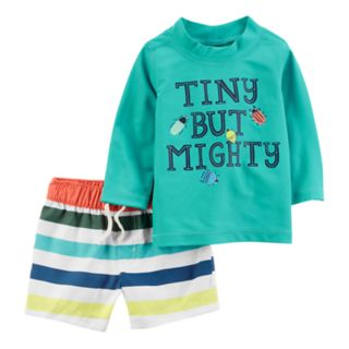 "Baby Boy Carter's ""Tiny but Mighty"" Rash Guard & Striped Swim Shorts Set"