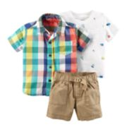 Baby Boy Carter's Plaid Shirt, Bug Tee & Shorts Set