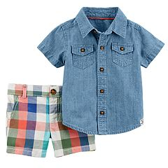 Baby Boy Carter's Chambray Shirt & Plaid Shorts Set