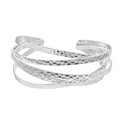 Silver Tone Hammered Woven Cuff Bracelet