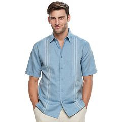 Big & Tall Havanera Classic-Fit Paneled Linen-Blend Button-Down Shirt