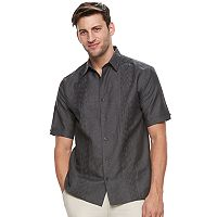 Big & Tall Havanera Classic-Fit Embroidered Linen-Blend Button-Down Shirt