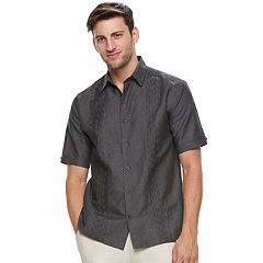 Big & Tall Havanera Classic-Fit Embroidered Linen-Blend Button-Down Shirt