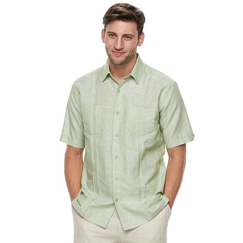 Big & Tall Havanera Classic-Fit Woven Two-Pocket Linen-Blend Button-Down Shirt