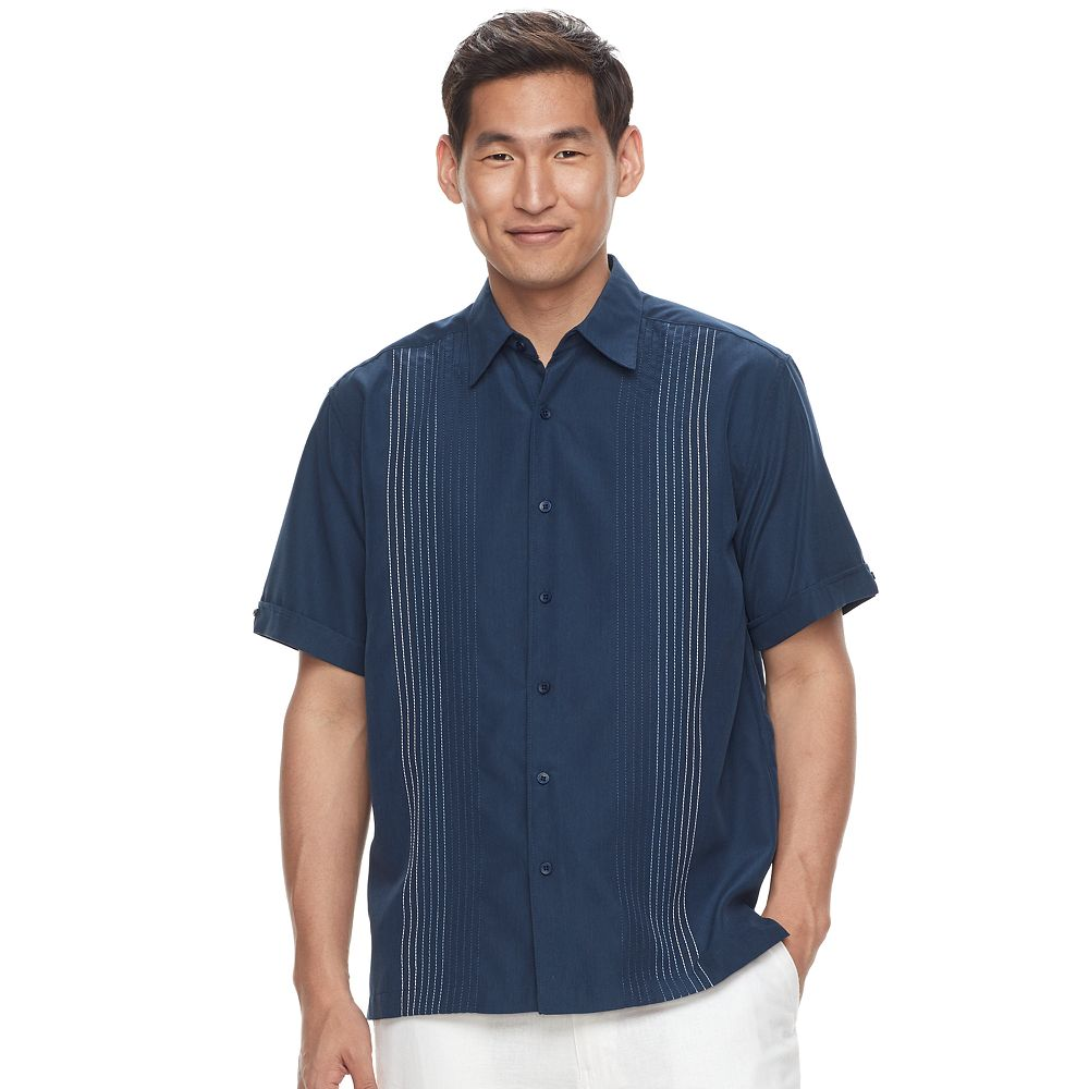 Big & Tall Havanera Texture-Striped Embroidered Button-Down Shirt