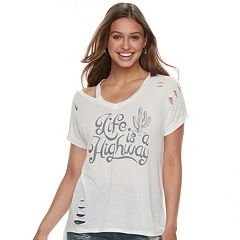 Juniors' 'Life Is A Highway' Destructed Graphic Tee
