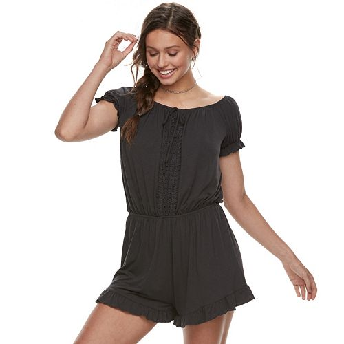 Juniors' Tie-Front Smocked Romper