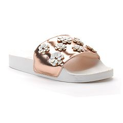 Candie's® Women's Metallic Floral Applique Slide Sandals