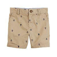Boys 4-8 Carter's Schiffli Flat Front Khaki Shorts