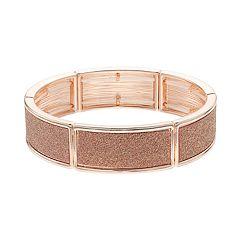 Rose Gold Tone Glitter Stretch Bracelet