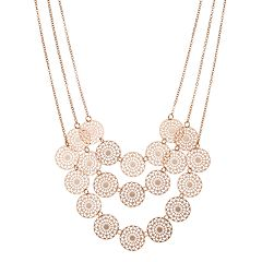 Filigree Disc Triple Row Nickel Free Necklace