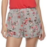 Juniors' Joe B Striped Floral Mid-Rise Smocked Shorts