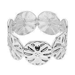 Silver Tone Textured Flower Link Stretch Bracelet