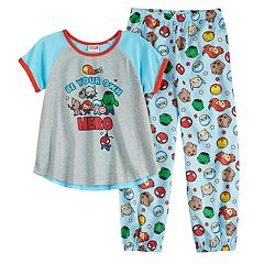 Girls 6-12 Marvel The Avengers Iron Man, Thor, Groot & Spider-Man Top & Bottoms Pajama Set