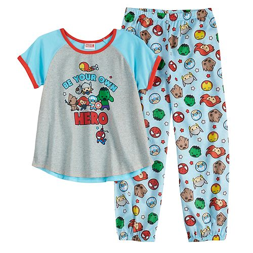 Girls 6-12 Marvel The Avengers Iron Man, Thor, Groot & Spider-Man Top & Bottoms Pajama Set
