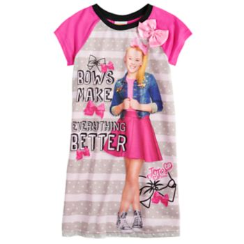 "Girls 4-10 JoJo Siwa ""Bows Make Everything Better"" Knee-Length Dorm Nightgown"