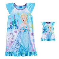 Disney's Frozen Elsa Girls 4-8 Nightgown & Doll Gown Set