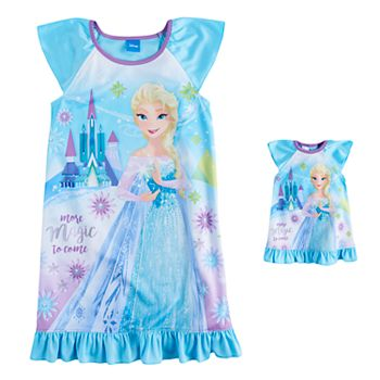 Disney\'s Frozen Elsa Girls 4-8 Nightgown & Doll Gown Set