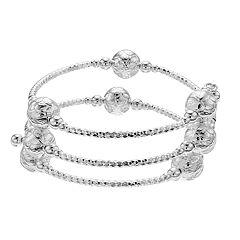 Silver Tone Textured Bead Coil Bracelet