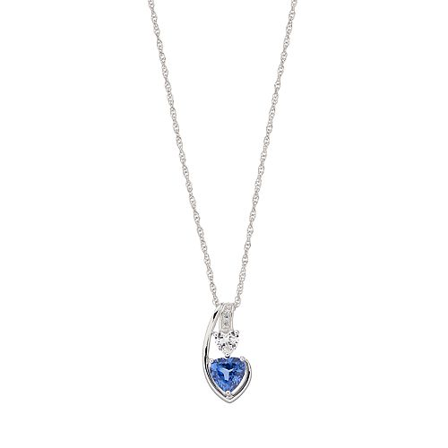 Sterling Silver Lab Created Sapphire Heart Pendant Necklace