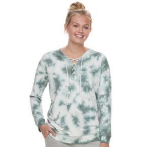 Juniors' Cloud Chaser Lace-Up Sweatshirt