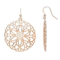 Rose Gold Tone Filigree Flower Nickel Free Drop Earrings