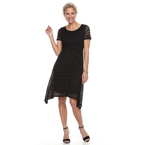 Women's Dana Buchman Lace Shark-Bite Hem Dress