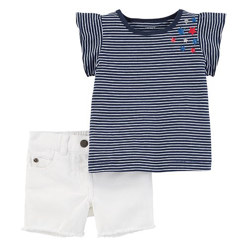 Baby Girl Carter's Striped Patriotic Tee & Frayed Shorts Set