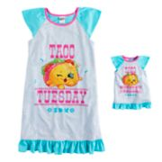 Girls 6-12 Shopkins Taco Terrie Nightgown & Doll Gown Set