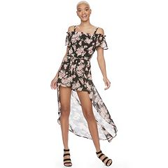 Juniors' Lily Rose Floral Cold-Shoulder Maxi Romper